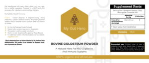 Organic Bovine Colostrum Label